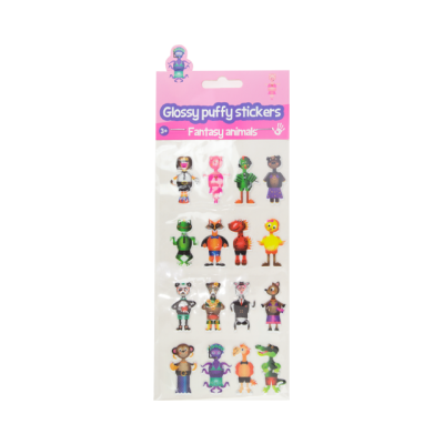 Glossy puffy stickers - Fantasy Animals